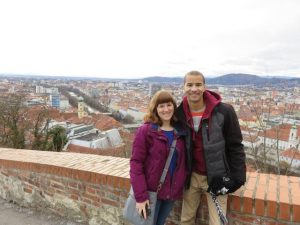 austria-isep-jessica-hack-preston-jordan-up-on-schlossburg-with-the-city-of-graz-behind-us