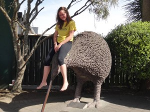 Callie Federer riding a kiwi in Otorohanga, New Zealand