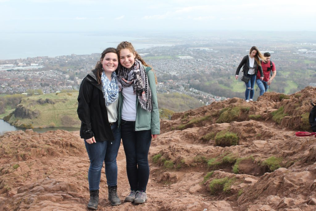 Austria Salzburg-Haley Meissen; Haley and Rachel on Arthur's Seat in Edinburgh, Scotland-Haley (left) studied abroad in Salzburg, Austria, and Rachel Feder