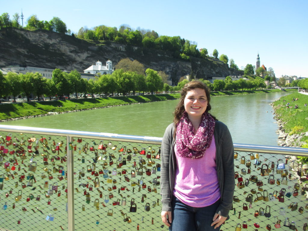 Austria Salzburg- Haley Meissen; Salzburg Lock Bridge-Salzach River in background