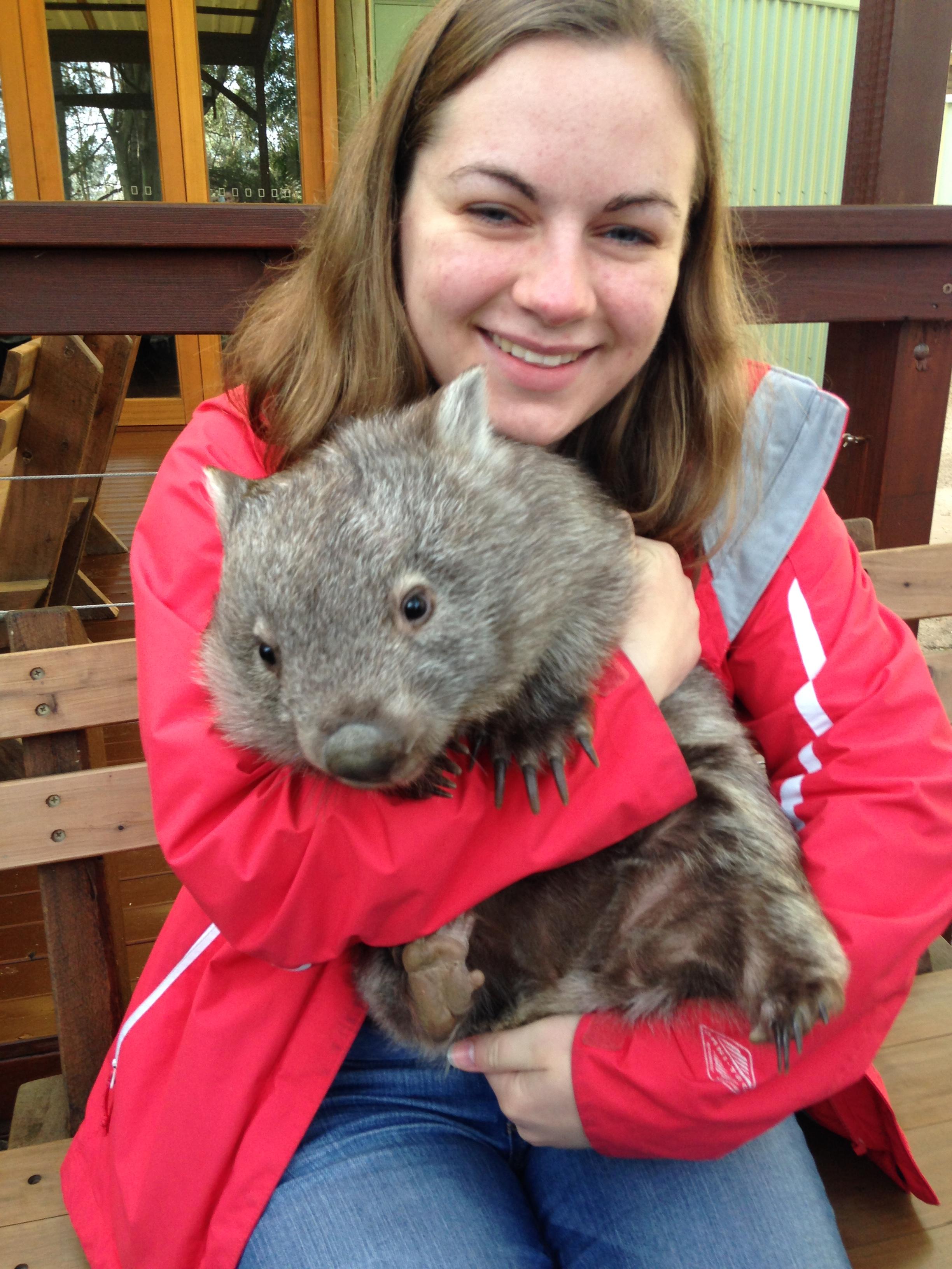 New Zealand Waikato- Caroline Blazer Holding a baby wombat named Matilda in a wildlife park near Sydney, Australia.